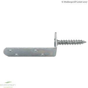 Flechtzaunhalter L-Form verzinkt 7 x 3,2 x 3 cm, Schraube 8 x 45 mm